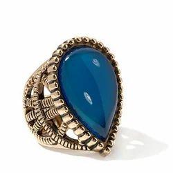 Studio Barse Pear-Shaped Blue Agate Bronze Ring