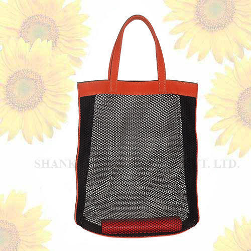 See Through Beach Bag With Net And Leather Trims - Shankar Produce ...