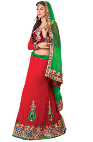 82c1fd322 Desi Vibes Red Lehenga With Handworked Neck - Vessido Lifestyle ...
