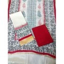 Red White Chanderi Suit