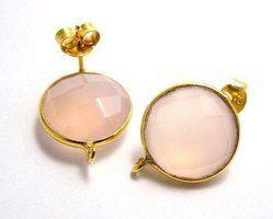 Pink Chalcedony Bezel Set Gemstone Earring Stud