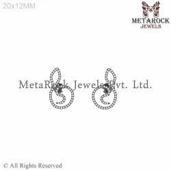 92.5 Sterling Silver Diamond Earrings