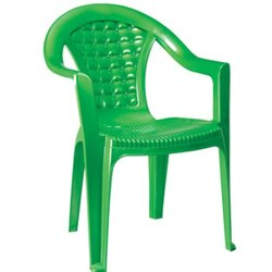 Green Plastic High Back Chair with Arms