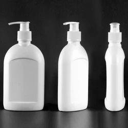 White HDPE Flat Hand Wash Bottle, Pump Sprayer