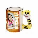 Multicolor Animal Handle Mug, Size: 350 Ml, For Home