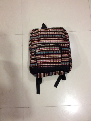 Black Cotton Fabric Backpack Bag