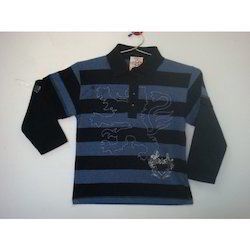 Machine Wash Full Sleeves Kids Collar T-Shirts, 3-5 Years And 5-7 Years