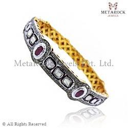 Pave 925 Sterling Silver & 14k Gold Bangle