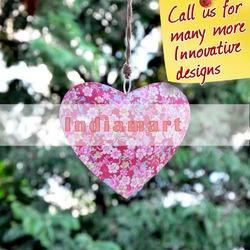 Pink Floral Heart Hanging Iron Sheet