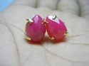 Hot Pink Chalcedony Prong Set Gemstone Earring Stud