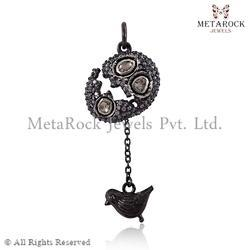 Rose Cut Diamond Sparrow Design Pendant