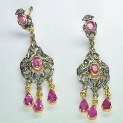Pave Diamond 925 Sterling Silver Ruby Earring