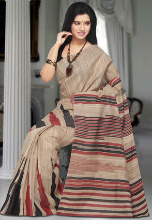 4a5c6d2358865a Beige Handloom Pure Dupion Silk Saree with Blouse - Rathi Creations ...