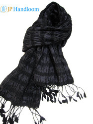 Black Dyed Silk Crinkle Shawl