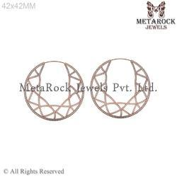 14k Rose Gold Diamond Hoop Earring