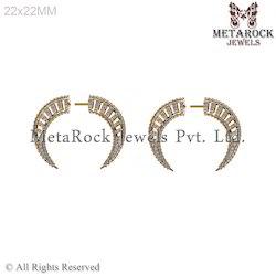 14k Yellow Gold Latest Design Diamond Hoop Earring Jewelry
