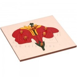 Red Flower Puzzle / Montessori Puzzle / Knobbed wooden puzzle