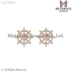 Anchor Ship Wheel Gold Diamond Earring Jewelry