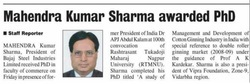 Mahendra Kumar Sharma Awarded PhD