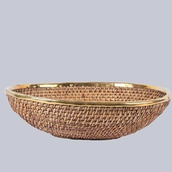 Oval Shallow Wicker Fruit Basket
