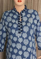 Indigo Long Sleeve Printed Kurta