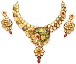 Gold With Kundan Necklace