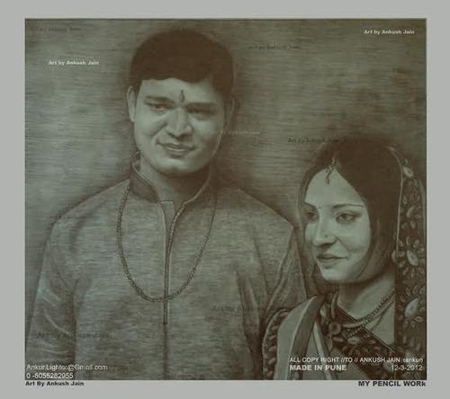 Lovely husband and wife pencil sketch