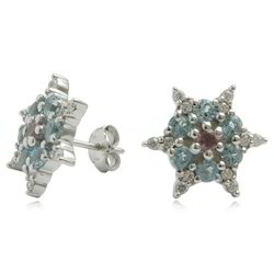Star Shaped Gemstone Silver Earring