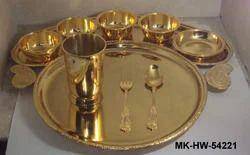 MKI Golden Brass Bhojan Thal, Features: Bhojan Thaal, Round