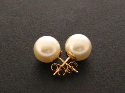 10mm SIMPLE LARGE CREAM PEARL BALL STUD EARRINGS SILVER PLATED WIRES