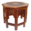 Aspiration International Wooden Table Carved With Octagonal Base, Size: Multiple