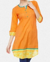 Orange And Yellow Zig- Zag Printed Kurti