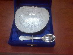 Silver Plated Triangular Bowl with Spoon