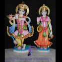 Marble Lord Radha Krishna Statues with Flute