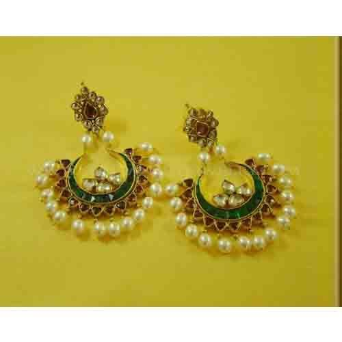 22k Gold Plated Chand Bali Earrings Buy line Kundan at Rs 2350