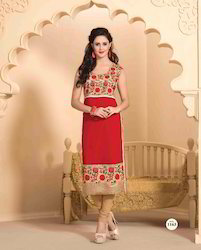 Georgette Long Straight Kurtis