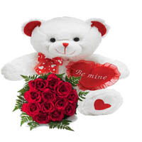 Valentine Teddy Bear with Red Roses