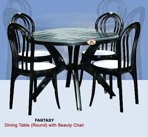 Black Plastic Round Dining Table With Chair Height 730