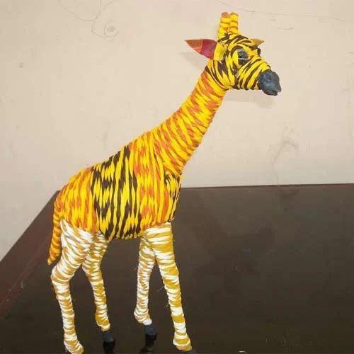 Cotton Rope Giraffe Statue Handmade Leather Giraffe Indore