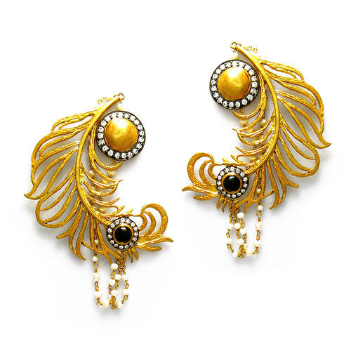 Gold Plated Pea Feather New Fashion Designs Earrings