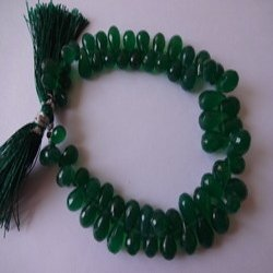 Green Onyx Briolette Faceted Tear Drops AAA Quality