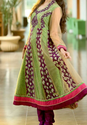 Green And Wine Anarkali Suit