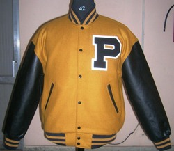 Gold Wool Body With Black Leather Sleeves Varsity - Men