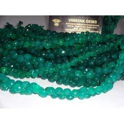 Green Onyx Faceted Onion Briolettes Beads Strands