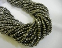 Black Pyrite Faceted Roundels 3-4mm Gemstone Bead Strands