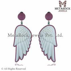 Silver Gemstone Carved Earrings