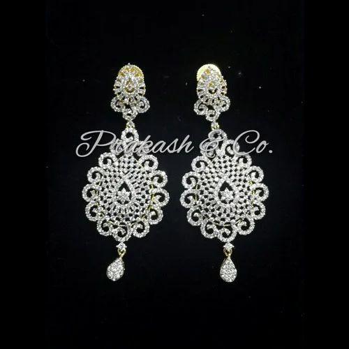 79576f57623 Prakash White American Diamond Designer Earrings