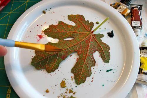 Watercolor Leaf Printing, Leaf Printing, लीफ छपाई