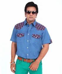 Casual Denim Half Sleeves Gents Shirts