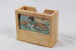 Pine Wood Gem Stone Pen Holder